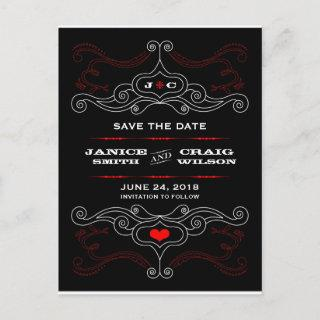 Red & Black Rock 'n' Roll Music Themed Wedding Announcement Postcard