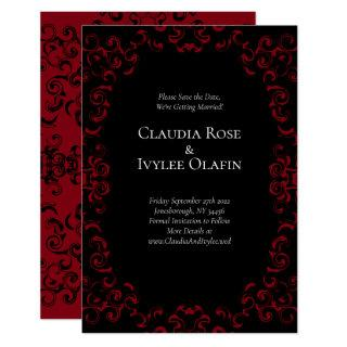 Red & Black Swirl Gothic Wedding Save the Date Invitations