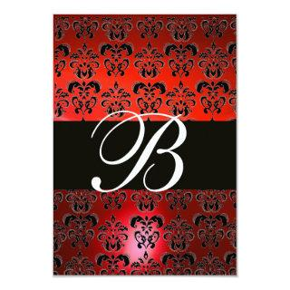 RED BLACK WHITE  DAMASK MONOGRAM RSVP Invitations