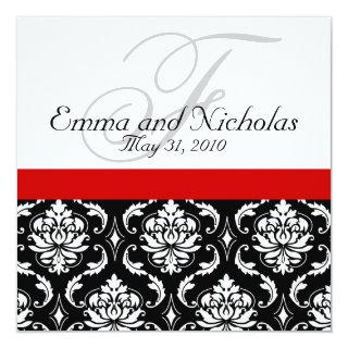 Red Black White Damask Wedding Invitations