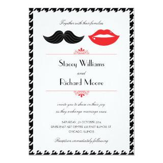 Red, Black & White Mustache & Lips Houndstooth Wed Invitation