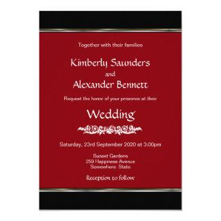 Red Black White with Gold Silver Stripe Wedding Invitation