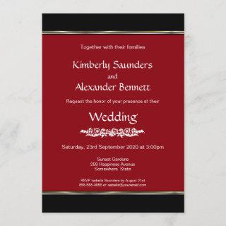 Red Black White with Gold Silver Stripe Wedding Invitations