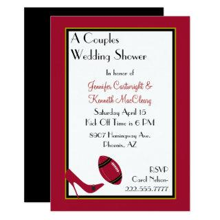 Red, Black & Yellow Football Couples Shower Invitations