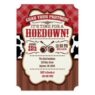 Red Brown Hoedown Party Invitation