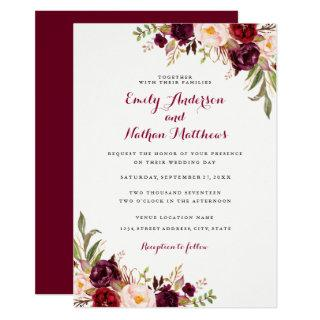 Red Burgundy Floral Fall Wedding Invitations