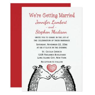 Red Burgundy Wedding Giraffe Love Heart Cartoon Invitations