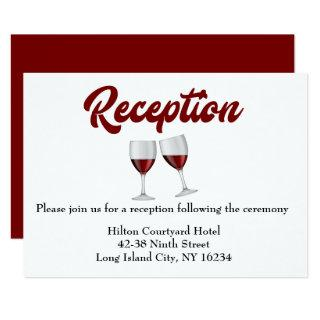 Red Burgundy Wedding Reception Wine Glasses Invitations