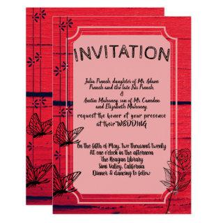 Red Butterfly Rose Wedding Invitations