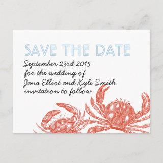 Red Crab Save the Date Announcement Postcard