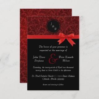 Red Damask & Red Bow - 3x5 Wedding Invitation