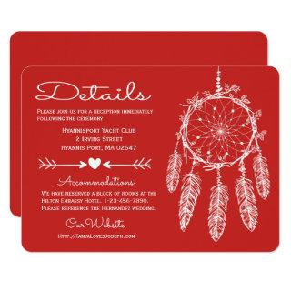 Red Details Dreamcatcher Native American Wedding Invitation