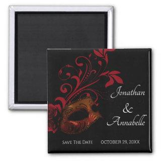 Red Floral Masquerade Save The Date Magnet