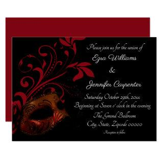 Red Floral Masquerade Wedding Invitations