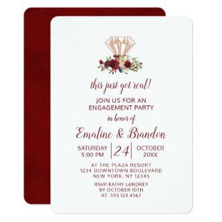 Red Floral This Just Got Real Engagement Party Invitation
