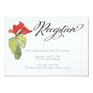 Red Flowers Calligraphy Script Wedding Reception Invitations