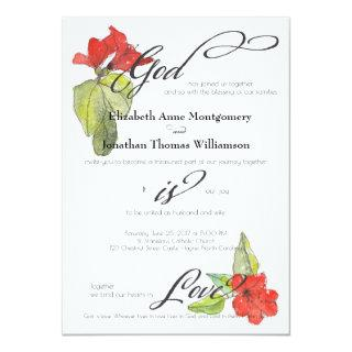 Red Flowers God is Love Religious Wedding Invitations