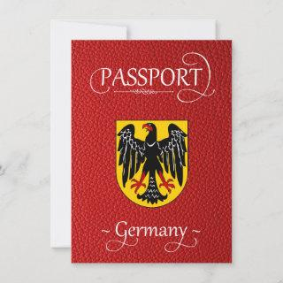 Red Germany Passport Save the Date Card