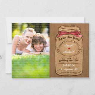 Red Gingham & Burlap Mason Jar Photo Save the Date