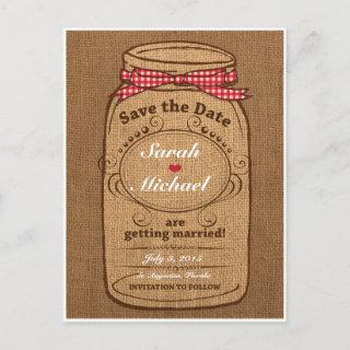 Red Gingham & Burlap Mason Jar Save the Date Announcement Postcard