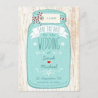 Red Gingham & Mint Mason Jar Save the Date