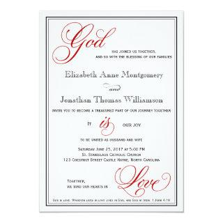 Red God is Love Christian Wedding Invitations