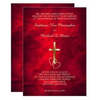 Red Gold Christian Cross Wedding Invitation