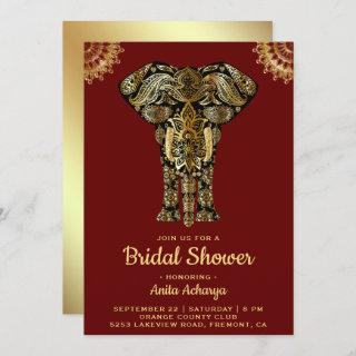 Red Gold Elephant Indian Bridal Shower Invitations
