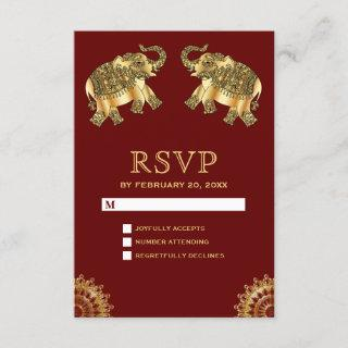Red Gold Ethnic Elephants Indian RSVP