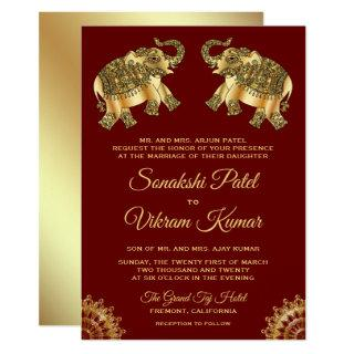 Red Gold Ethnic Elephants Indian Wedding Invite