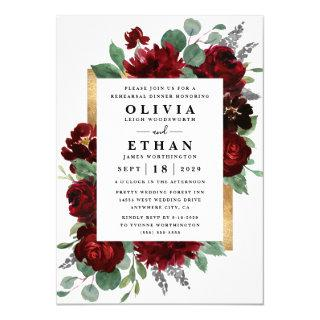 Red Gold Floral Rustic Wedding Rehearsal Dinner Invitations
