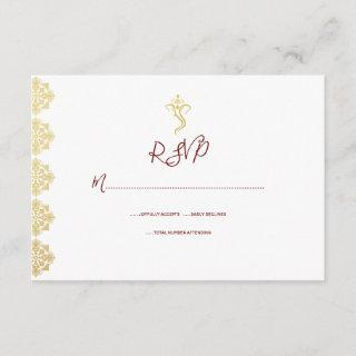 Red & Gold Ganesha and Mehndi Indian RSVP