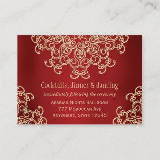 Red Gold Indian Inspired Reception Enclosure Card