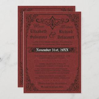 Red Gothic Victorian Damask Wedding Invitations