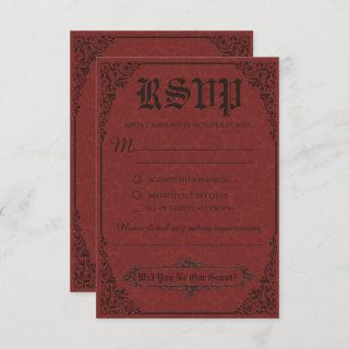 Red Gothic Victorian Damask Wedding RSVP Cards
