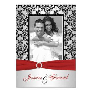 Red, Gray, & Black Damask Photo Wedding Invite
