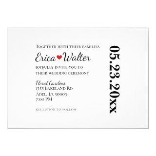 Red Heart Black and White or Custom Colors Wedding Invitations