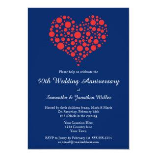Red Heart Royal Blue Wedding Anniversary Invite