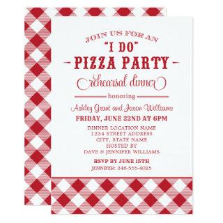 "Red ""I Do"" Pizza Party Wedding Rehearsal Dinner Invitation"