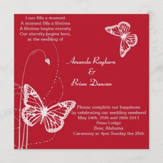 Red Invitation with White Butterflies