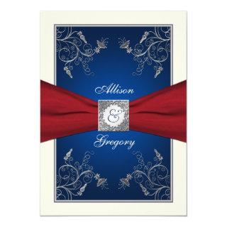 Red Ivory Blue Floral Monogram Wedding Invitation