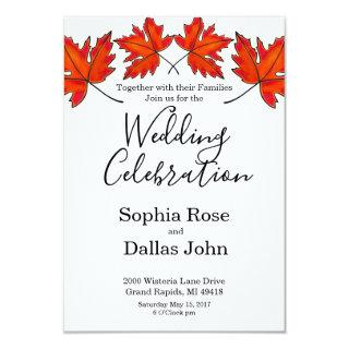Red maple leave Invitations