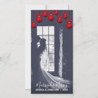 Red MARRIED & MERRY First Christmas   Add PHOTO Holiday Card