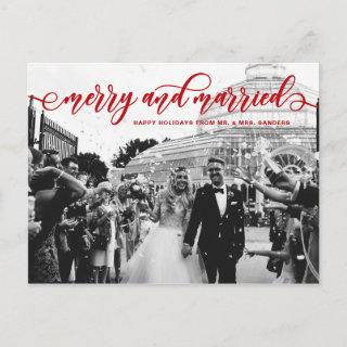 Red Merry and Married Calligraphy Wedding Holiday