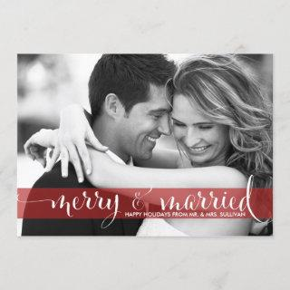 Red Merry and Married Script Holiday Photo Card