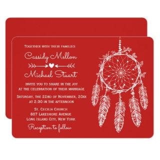 Red Native American Dream Catcher Boho Wedding Invitations