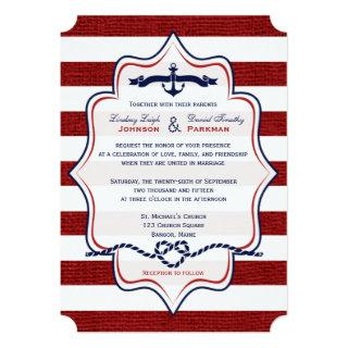 Red, Navy Nautical, FAUX Burlap Stripes Wedding Invitation