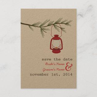 Red Oil Lantern Evergreen Tree Save The Date