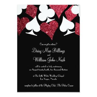 Red on Black Faux Glitter Las Vegas Wedding Invitations