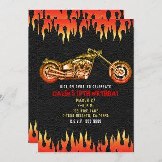 Red & Orange Fire Flames Motorcycle Bike Birthday Invitations